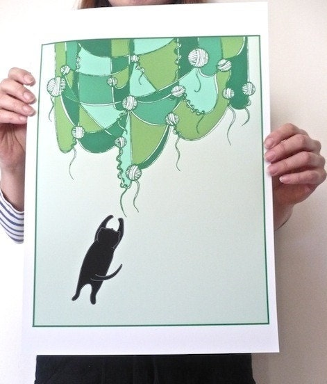 I Dream Of Yarn Curtains, Green - A3 Print