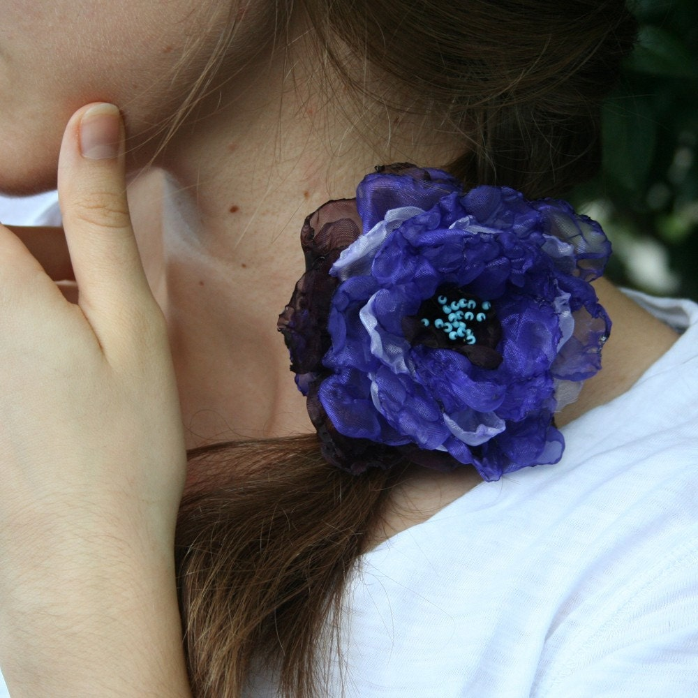 flower satin hair barrette in lavender purple and blue