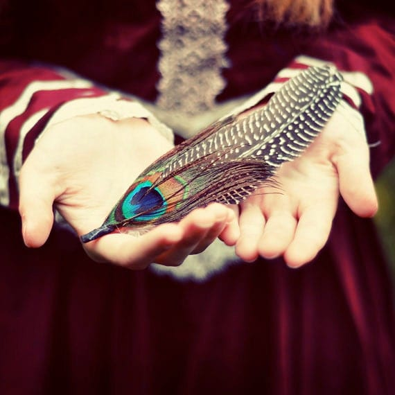 Feather Photograph,  5x5 Print, Woodland Fairytale Photograph, Burgundy Color , Nature Girl - ellemoss