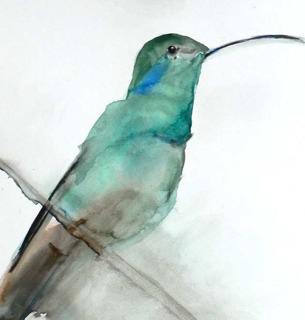 August - Limited Edition - 8 x 10 Giclee Print - Hummingbird Bird Watercolor Print