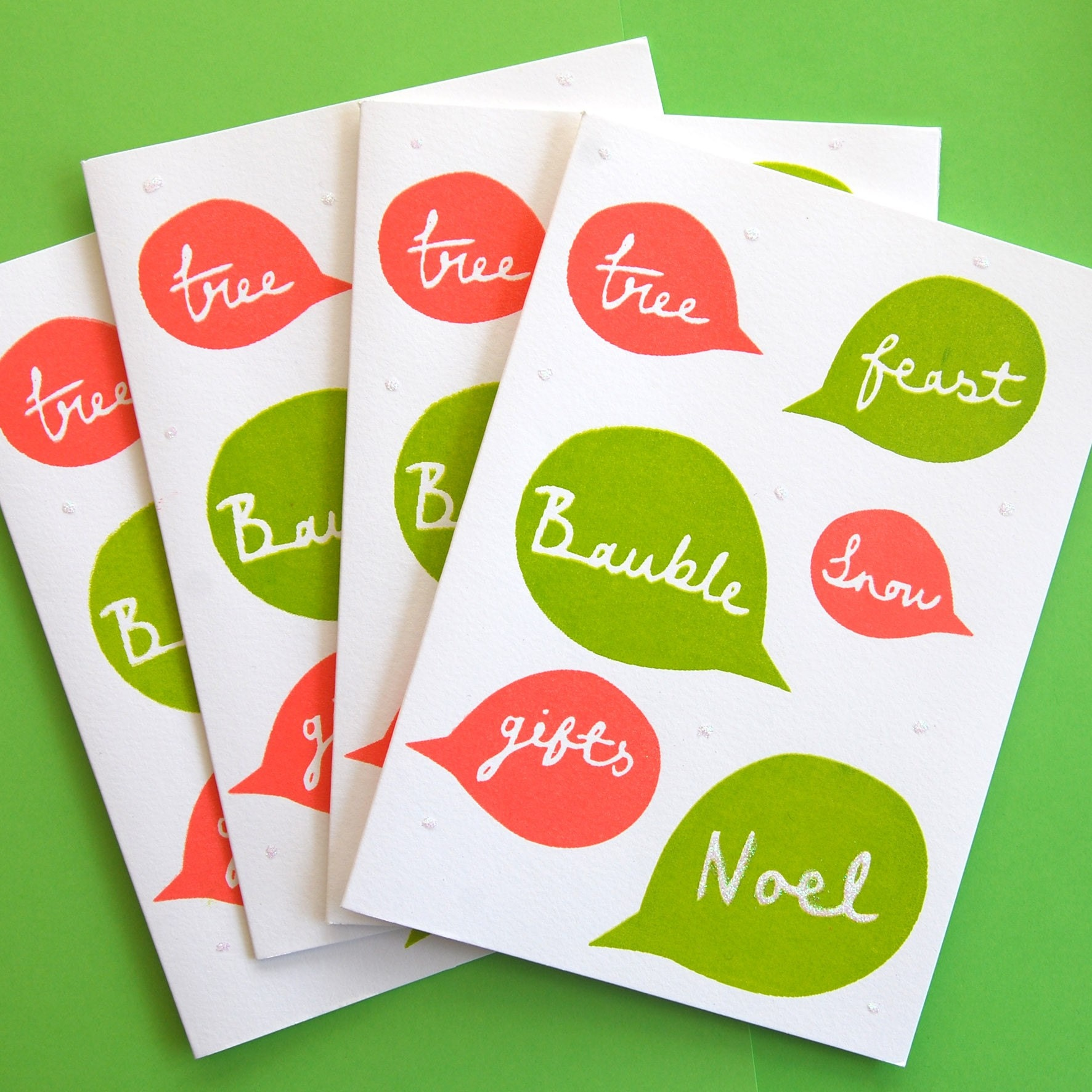 4x Christmas speech bubble cards