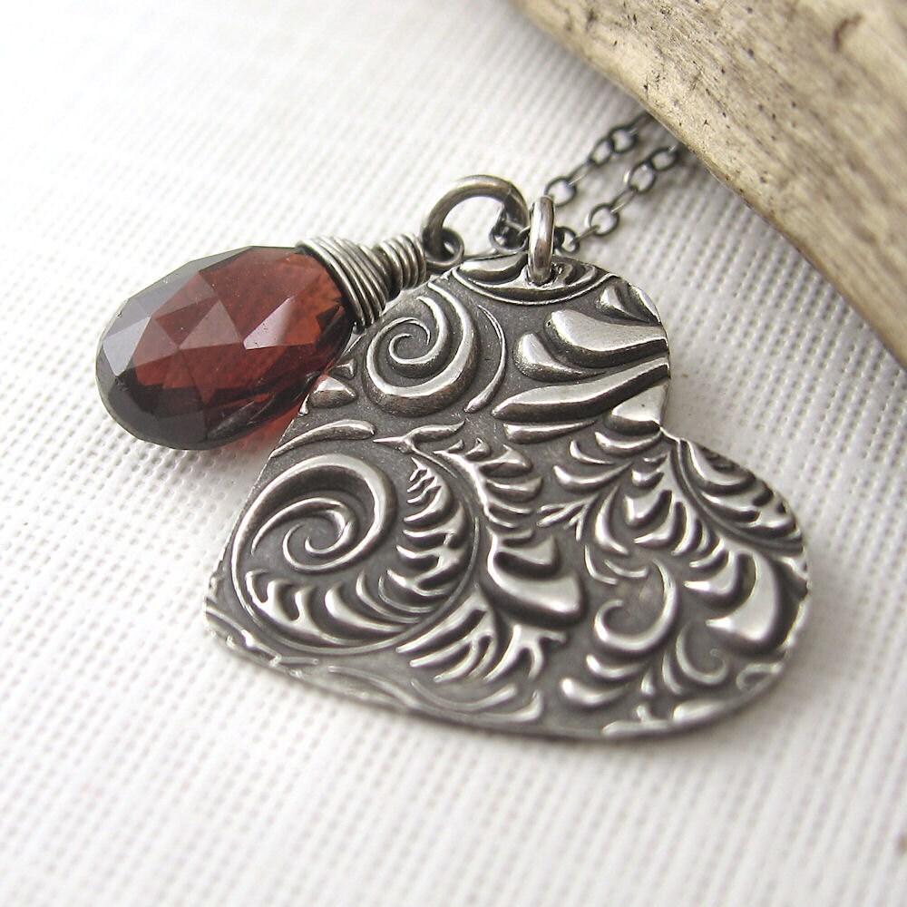 Sterling Silver Heart Charm Necklace Garnet January Birthday Birthstone Handmade Jewelry - Jennifer Casady - OOAK - Wild Heart No. 2