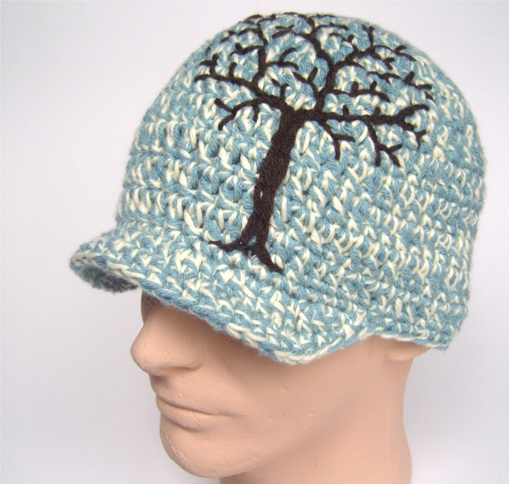 Brimmed Beanie with Embroidered Tree - Baby Blue and Cream with Brown Tree - Made to Order - LoveFuzz