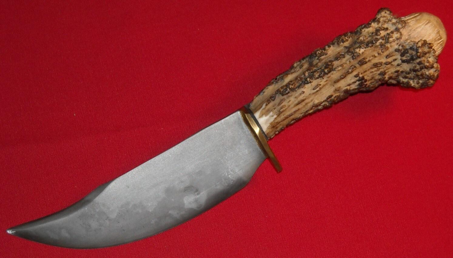 NATIVE AMERICAN HUNTING KNIFE/ANTLER HANDLE/ HANDMADE