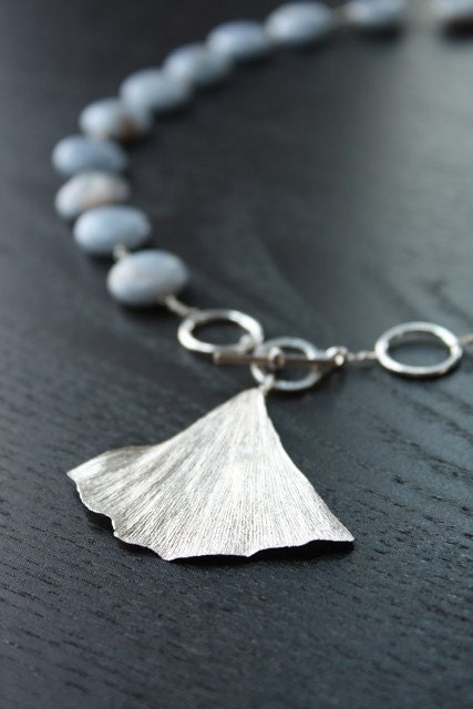 Boston Garden Ginkgo : necklace .  Angelite
