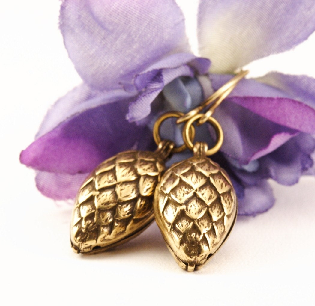 Etsy Free Shipping - Pine Cone Earrings - Antique Gold