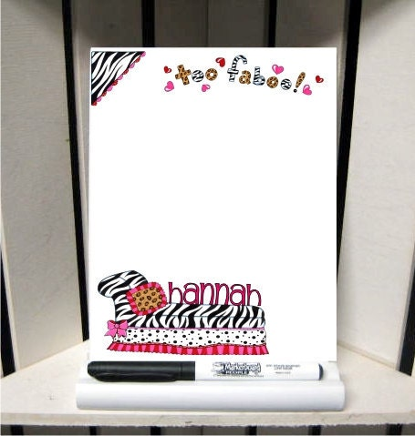 zebra print dry erase board with marker and stand by thetrendytile. Black Bedroom Furniture Sets. Home Design Ideas