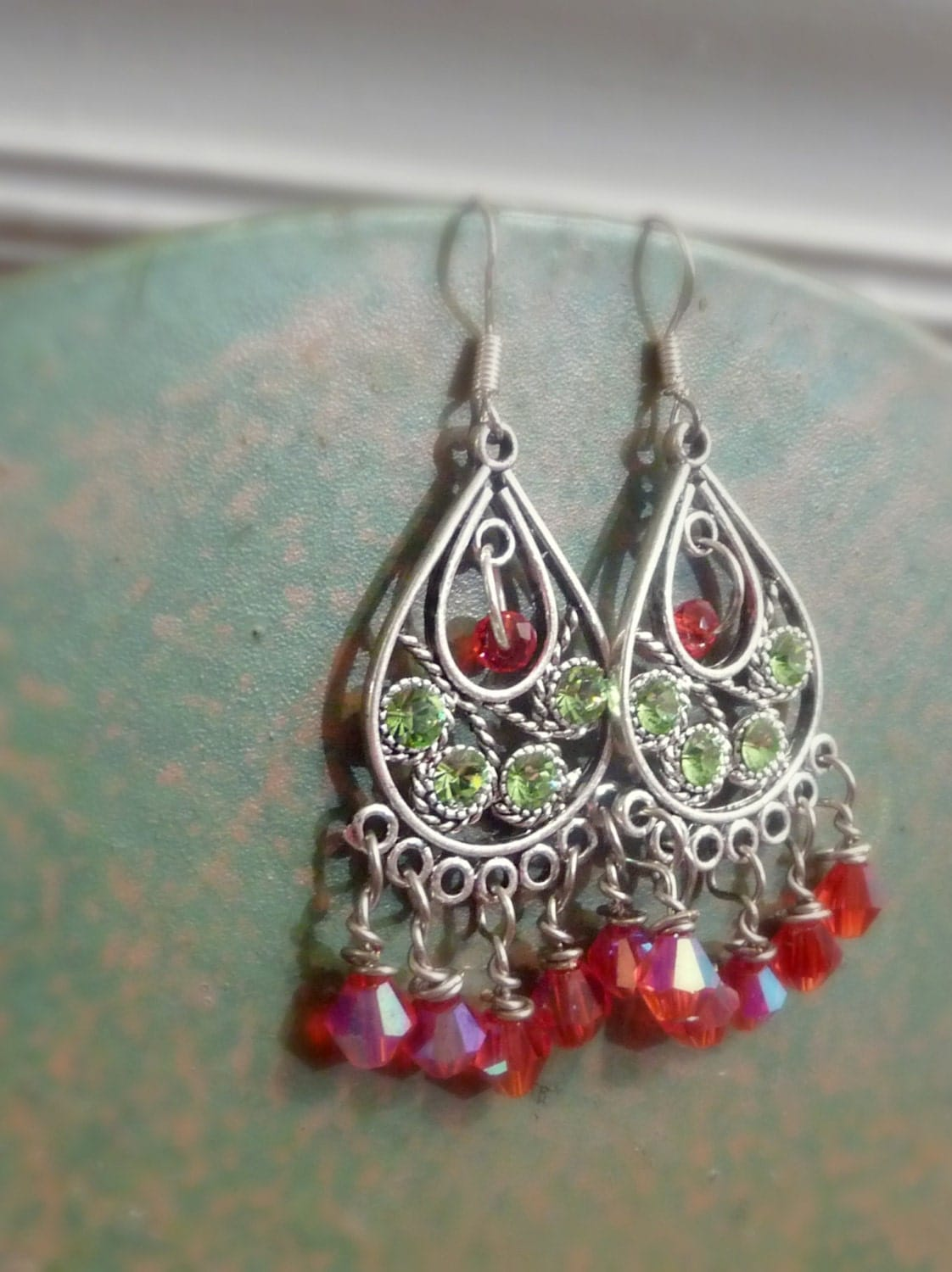 Christmas Holiday Earrings With Red and Green Glass, Sterling Silver Ear Wires - Mylana