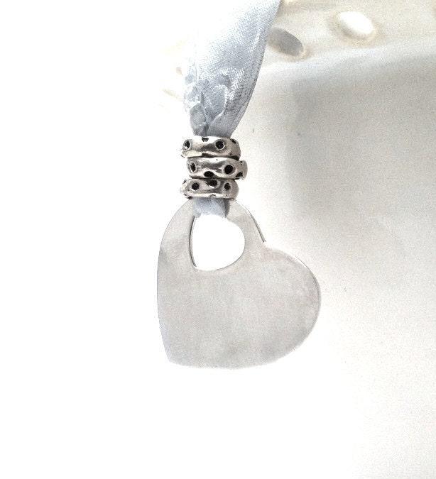 Blue Silk Heart Necklace