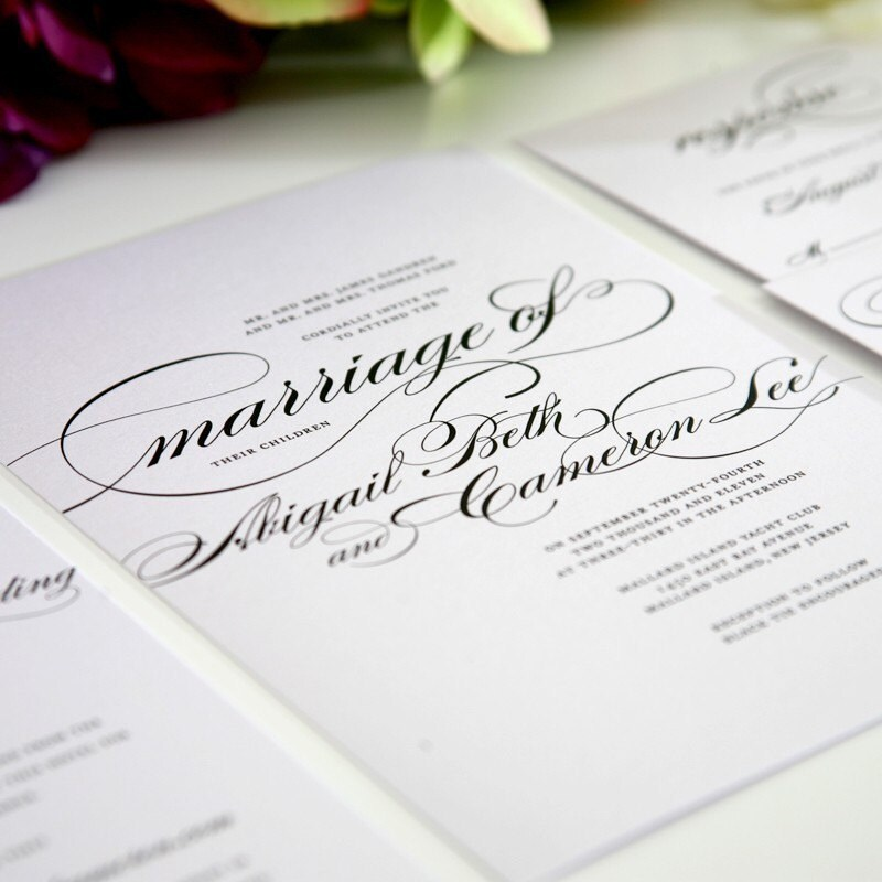 Marriage Wedding Invitations in Black, Sample