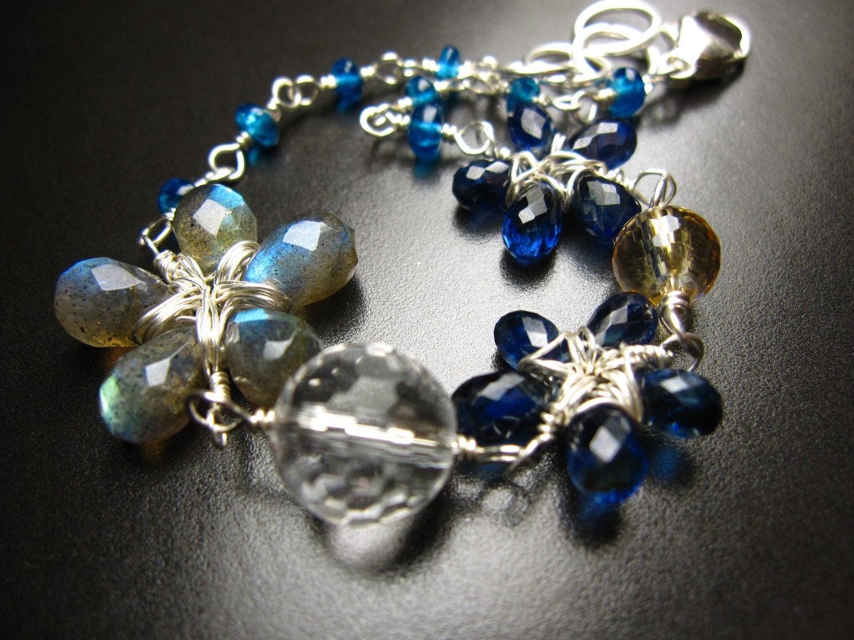 Irish flower - kyanite, labradorite, citrine, rock crystal - sterling silver bracelet