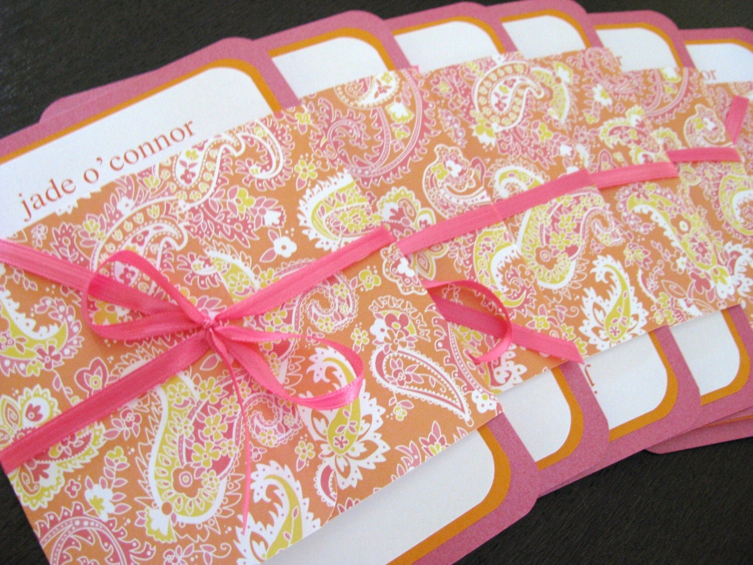 Fushia and Orange Paisley Invitation Sets