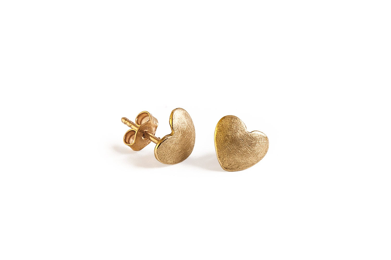 Gold Earrings, Heart Shape Earrings, The Heart Of Love-Perfect For Valentines Day - InbarAlezraki