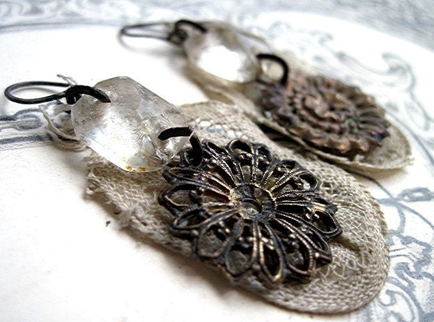 The Winged Energy of Delight. Antique Chandelier and Textile Earrings.