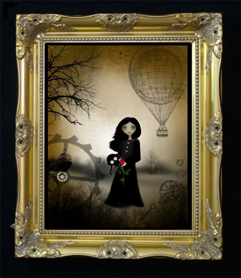 Dark Steampunk Goth Girl Art Print  --- Every Rose - 8 x 10 Inch - RusticGoth