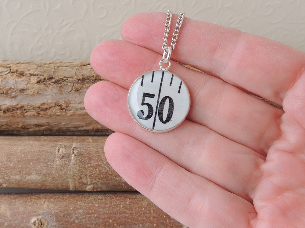 Number 50 Necklace Tape Measure Resin Pendant Sewing Jewelry Resin Jewelry Birthday Jewelry Lucky Number Quirky Jewellery UK 1522