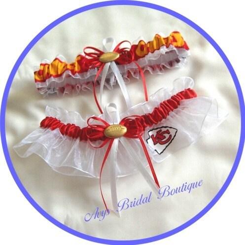 Wedding Garter Set Handmade with Kansas City Chiefs fabric