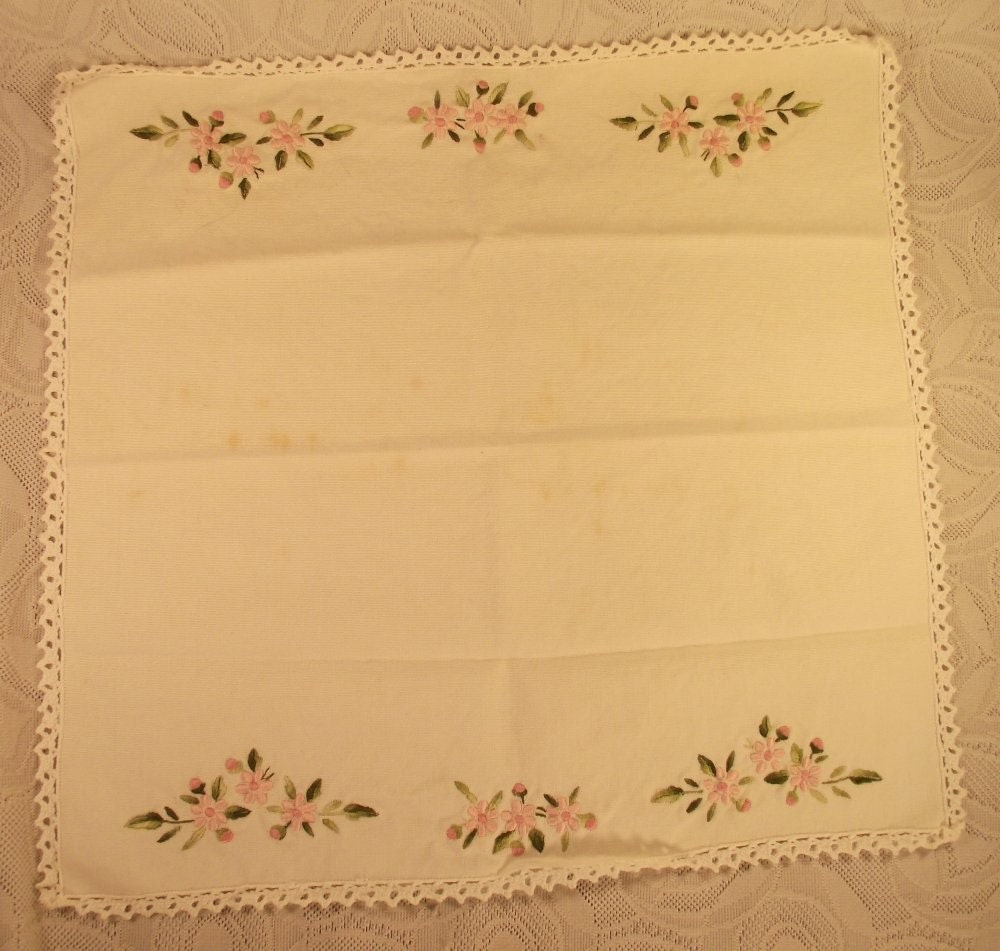 Vintage Hand Embroidered Linen Doilie with Beautiful Flowers