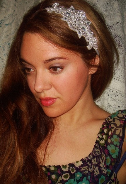 London Headband Rhinestone- Tie on, Suede Ribbon, Gray, Halo