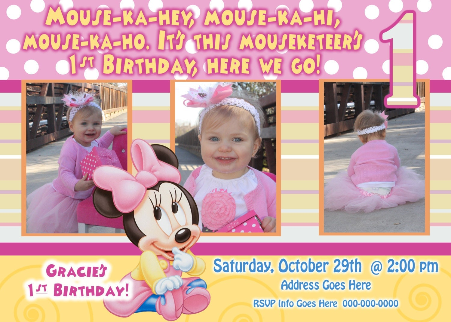 Popular items for minnie mouse party invitation on Etsy