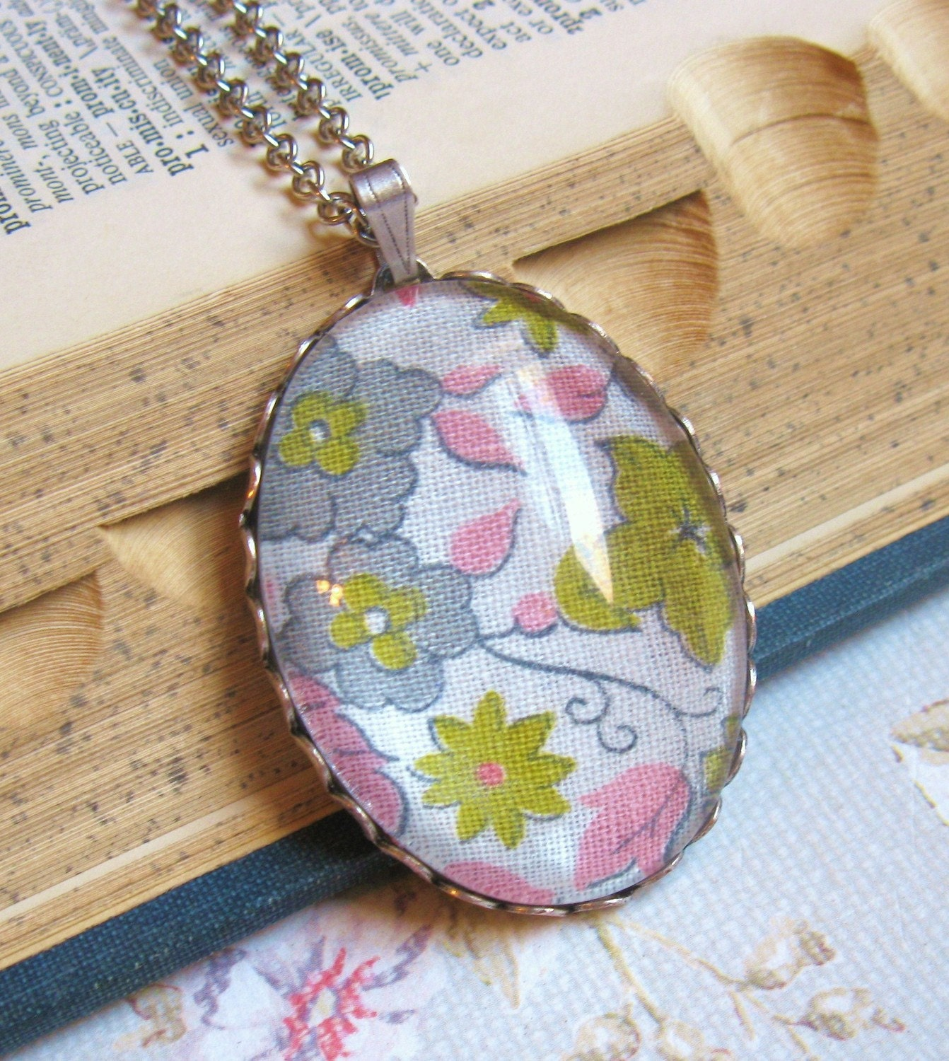 Pink, Grey, and Light Olive Green Floral-- Fabric Pendant Necklace