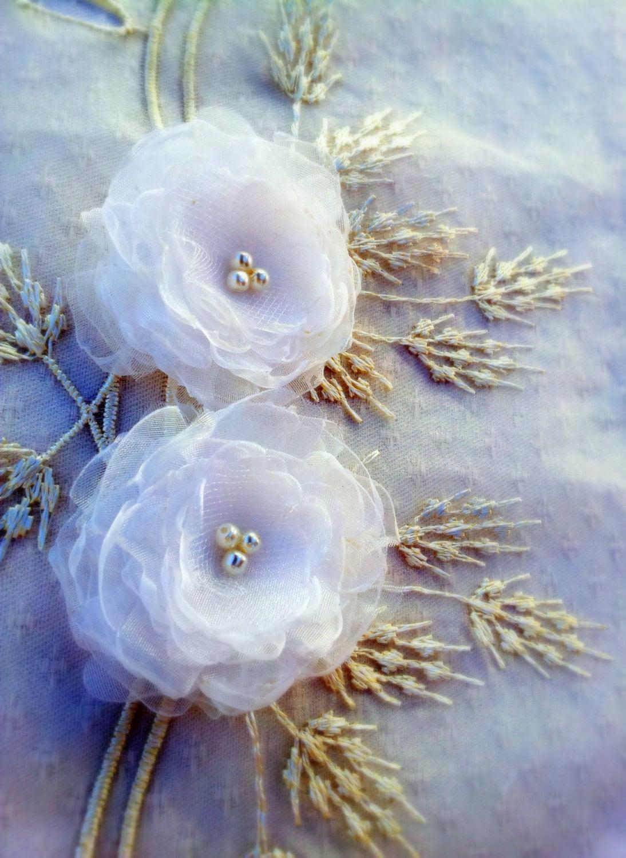 Bridal Shoe Clips, Bridal Accessories, Wedding Shoe Clips, Bridal Shoes, Flower Shoe Clips, Weddings, Bridal Organza Flowers - SparklyLittleStar