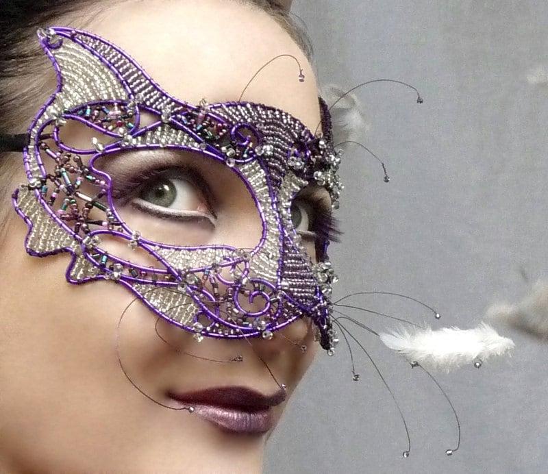 Cat masquerade mask, purple, womens, costume, accessories, handmade