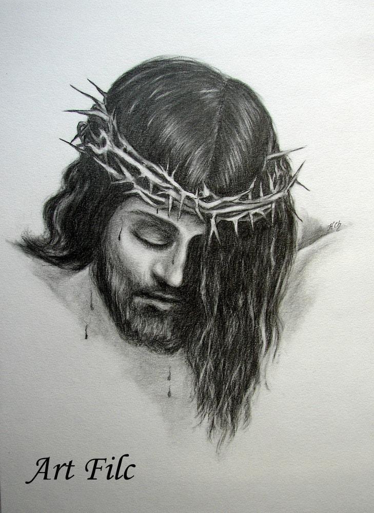 Original Pencil Drawing Portrait of Jesus Christ Black and White Wall Decoration Unique Present Wedding Gift Clip Frame - ArtFilc
