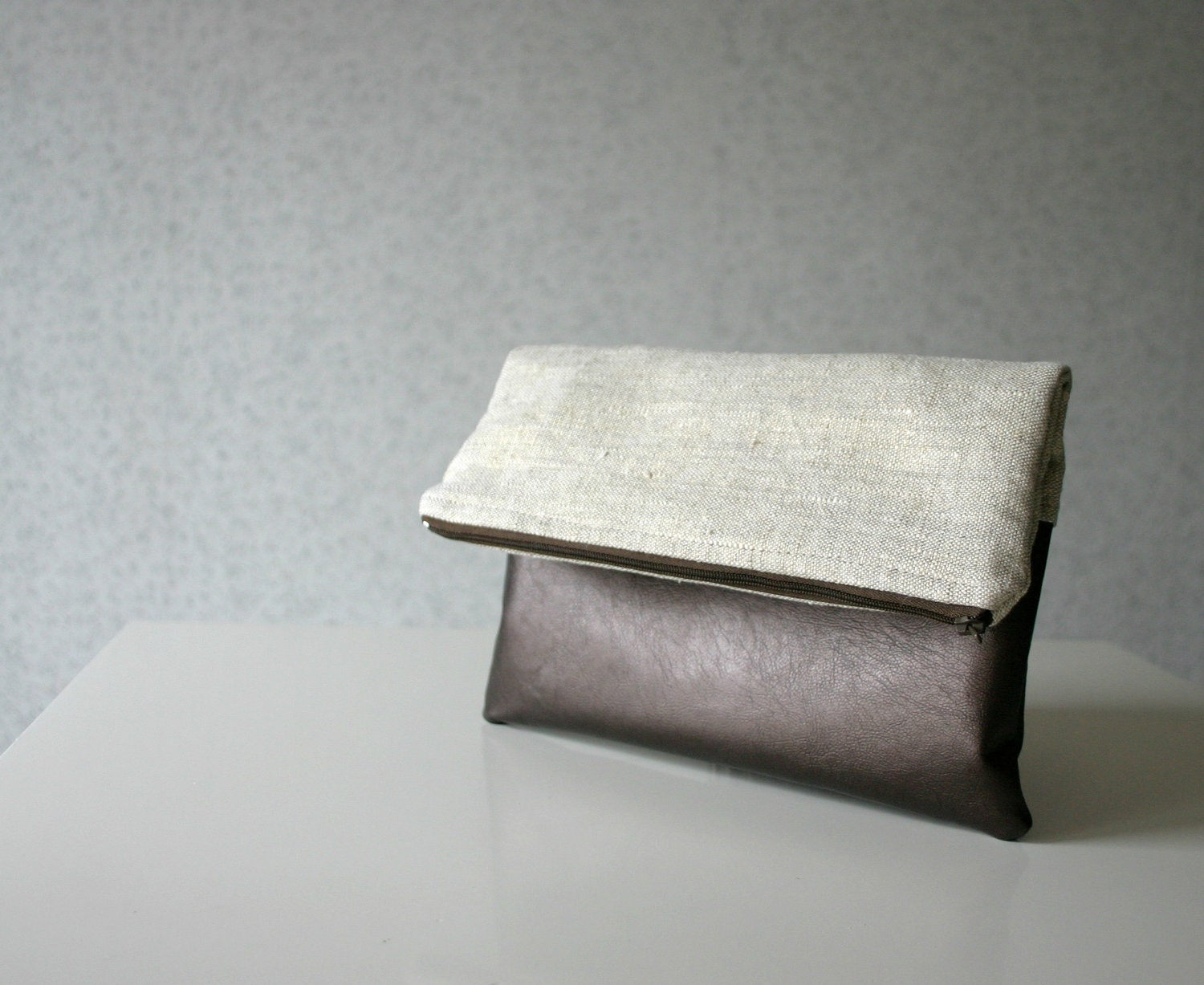 Linen and Leather Foldover Clutch Purse Gold Metallic Bronze - HelloVioleta