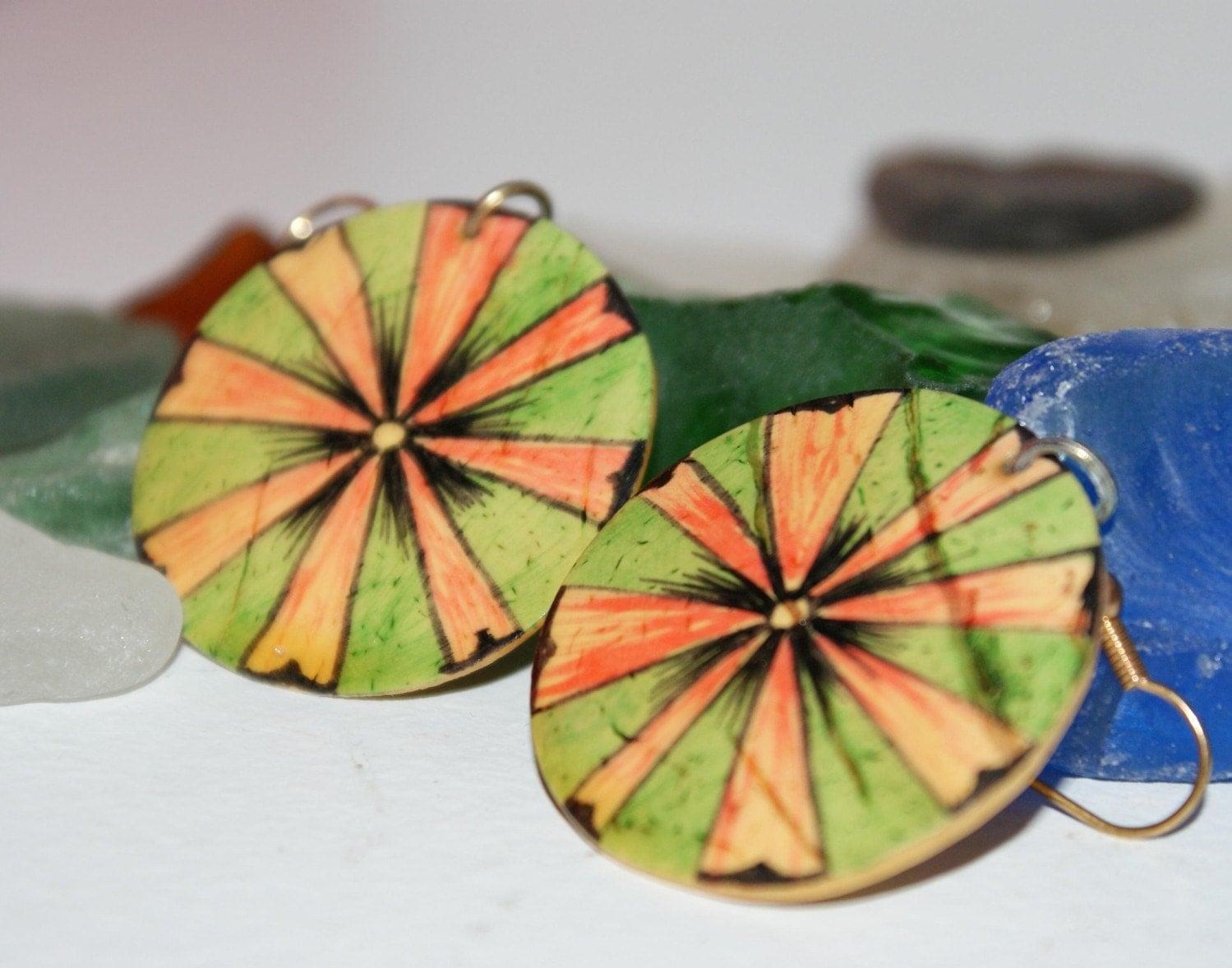 Artsy Coconut Girl Hand Made Earrings