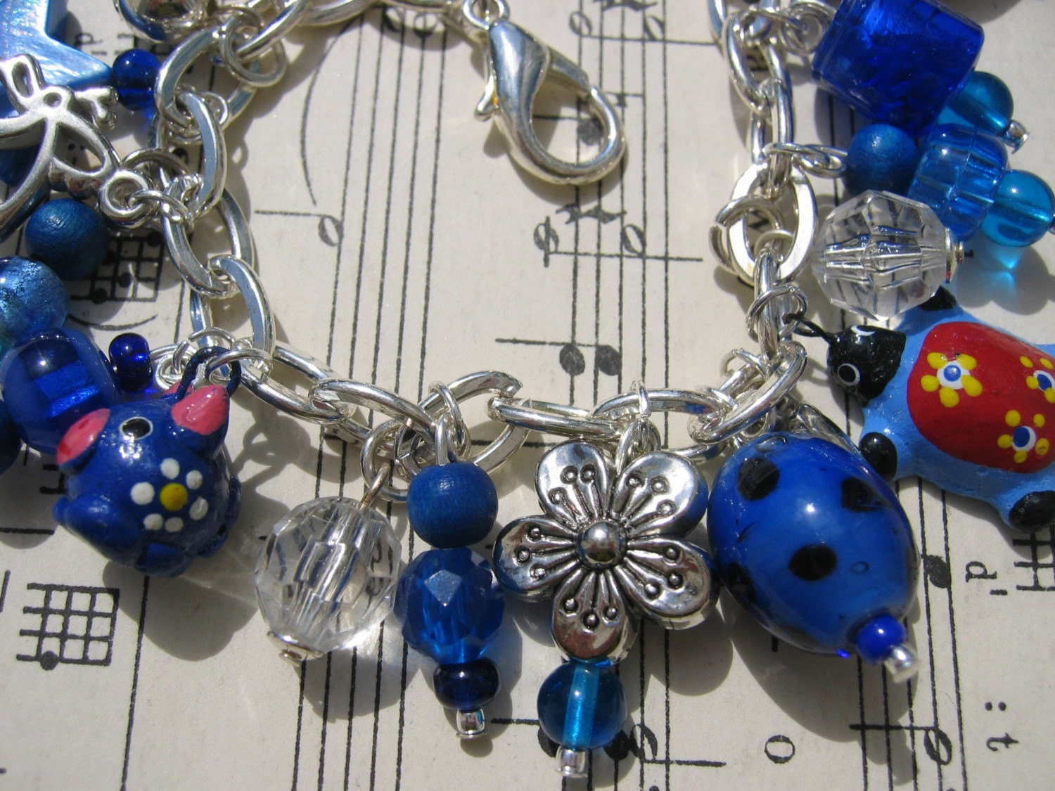 Silver and Blue Charm Bracelet