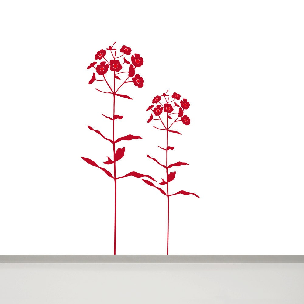 Large Flower Wall Decal Dascha, 2 Flowers in two colors, 44'' and 34,25'' - MUSTERLADEN
