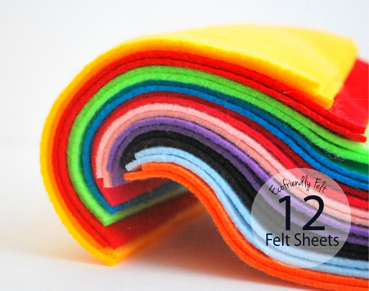 12 Felt Sheets Ecofriendly Felt - 12 color selection 8.5 x 12 sheets A605