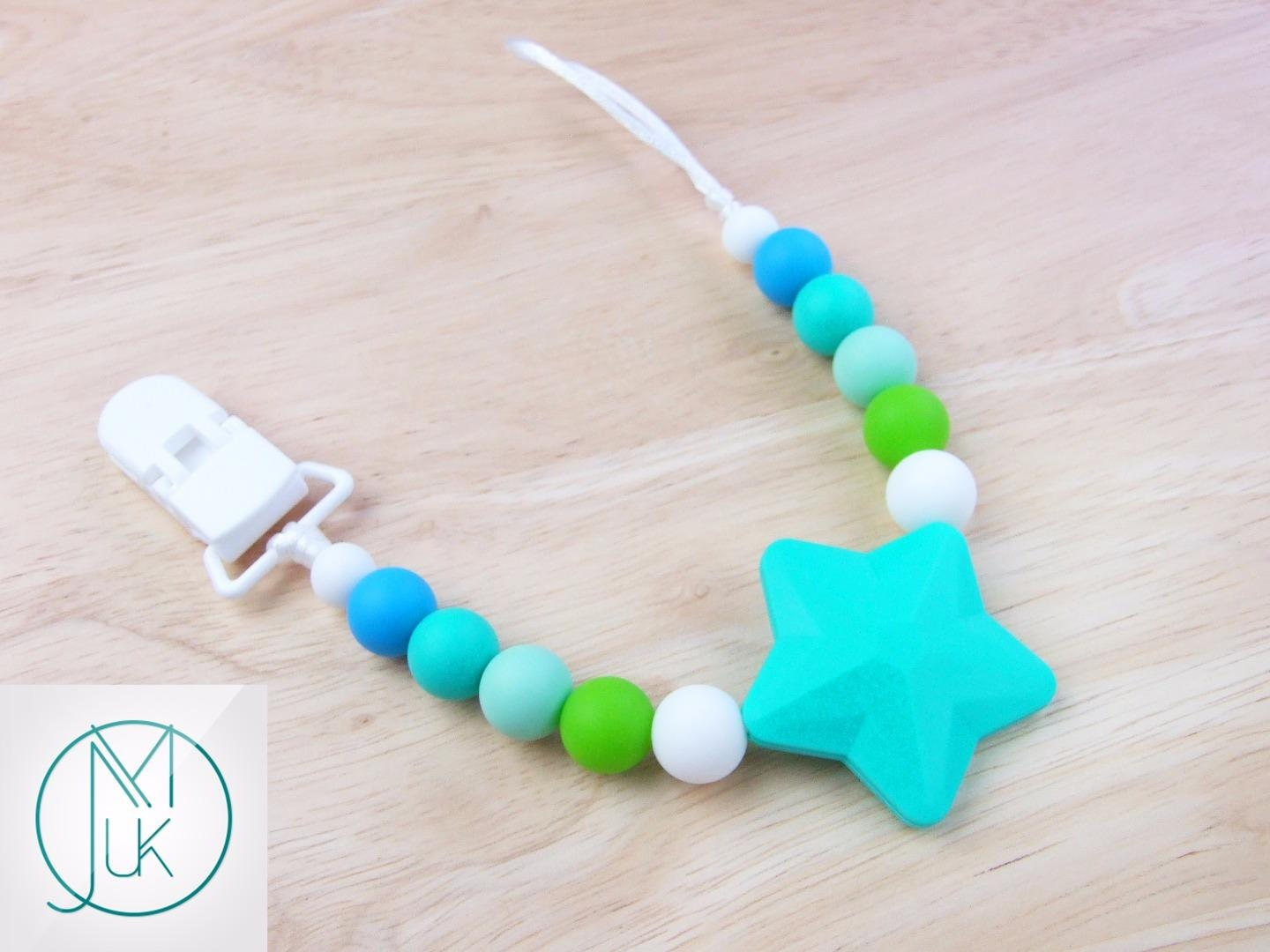 Turquoise Star Soother Dummy Clip Holder Teething Silicone Beads Safe Bpa Free FREE UK SHIPPING