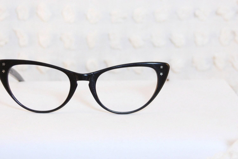 60s Cat Eye Glasses 1960 Womens Eyeglasses Black by DIAeyewear