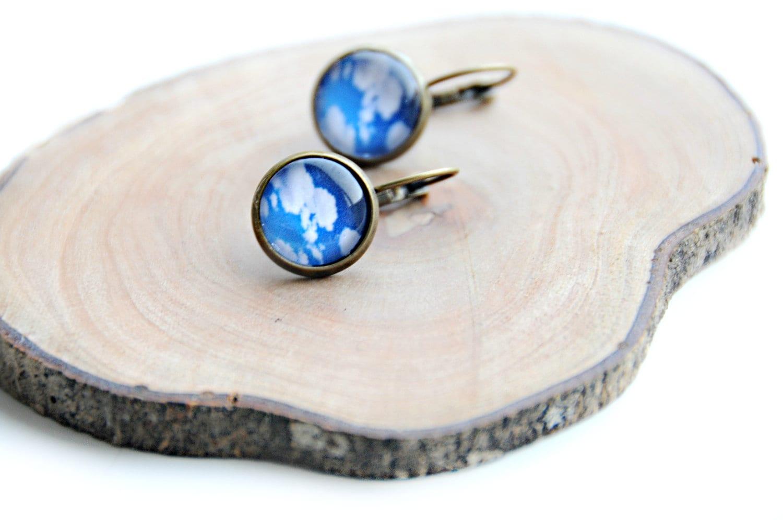 Earrings - handmade earrings in glass with clouds