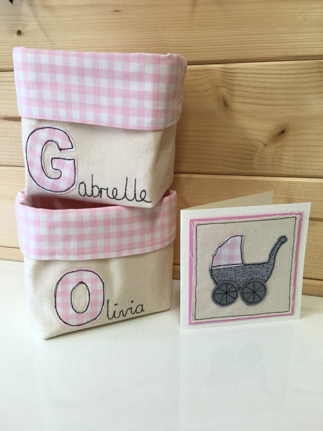 Personalised new baby basket organiser baby girl boy