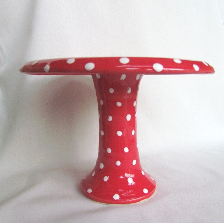 Cupcake Pedestal Plate Bright Red White Polka Dots Pottery - CenteredClayWorks