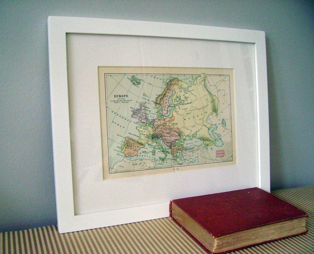 Vintage Europe Map Framed