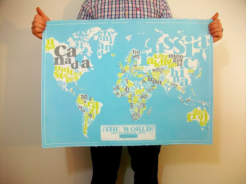etsy find world 2011 political typography map