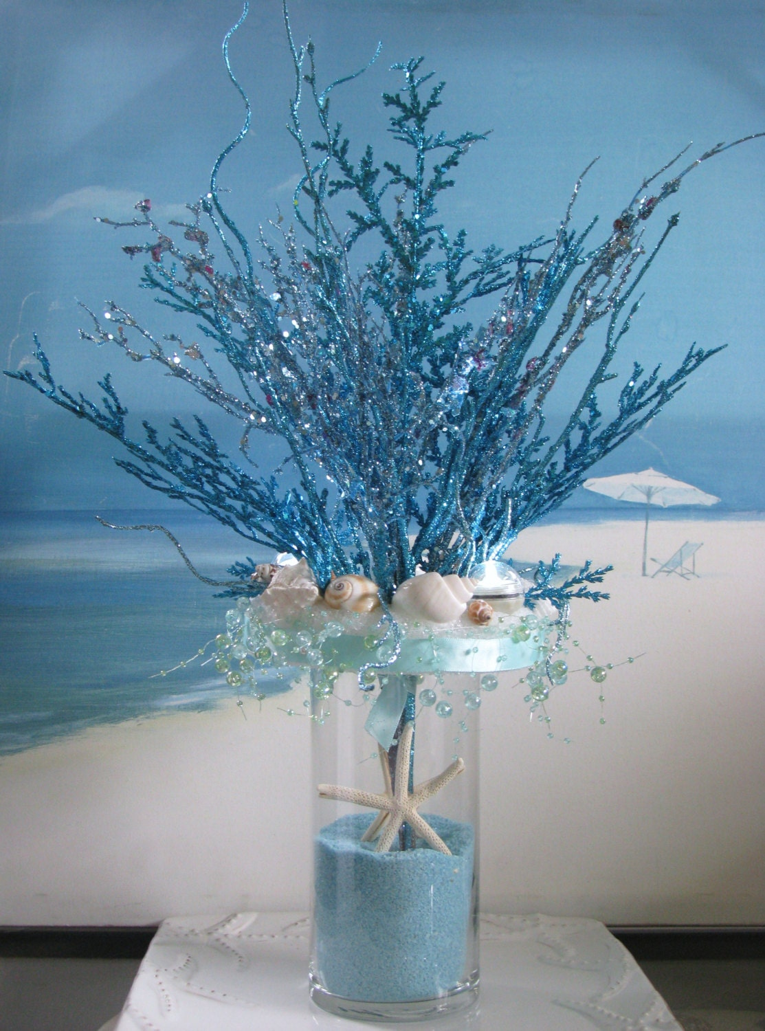 Blue Coral Seashell Sand Wedding Centerpiece By
