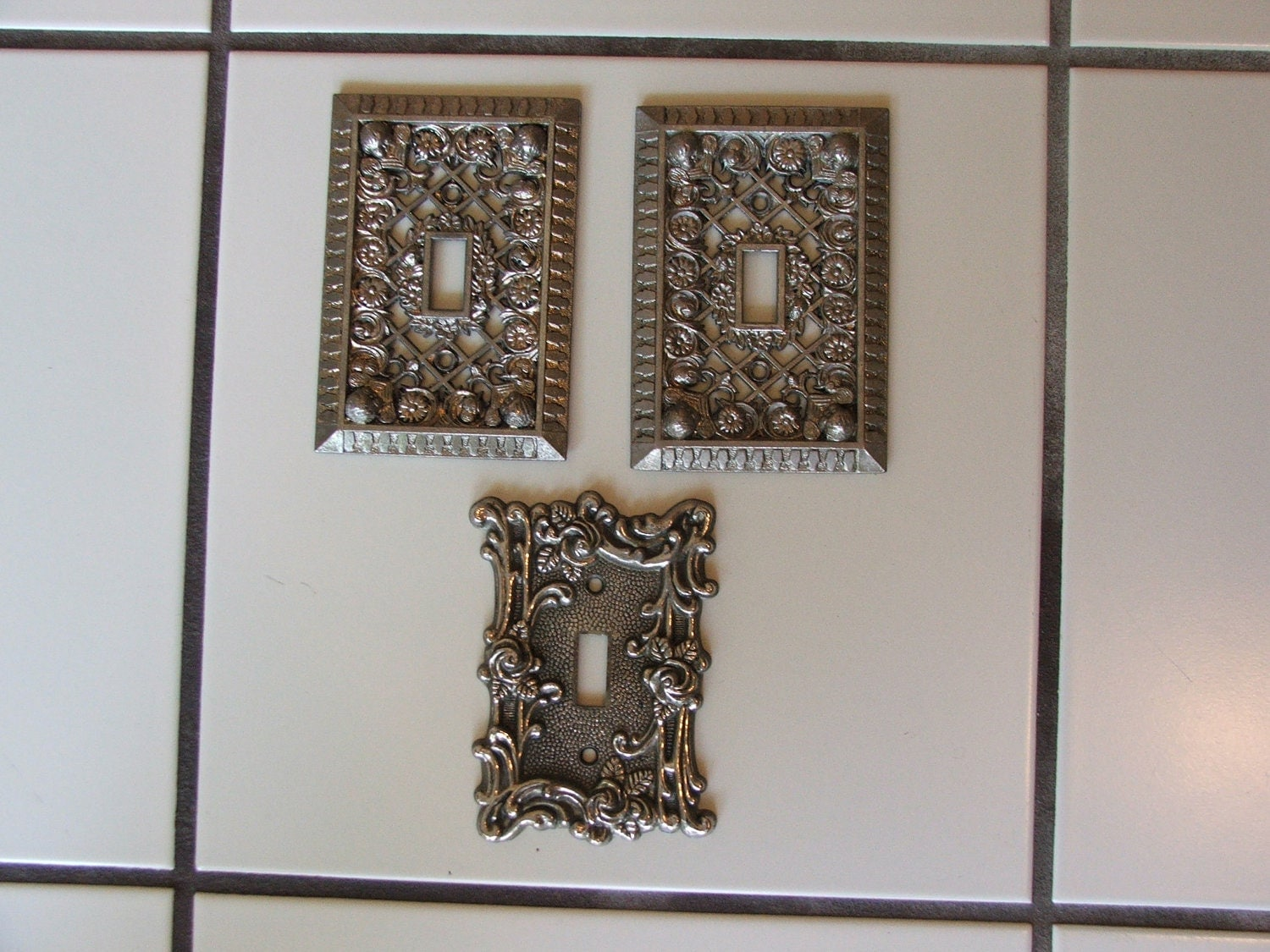 Vintage Ornate Metal Light Switch Cover Plates By
