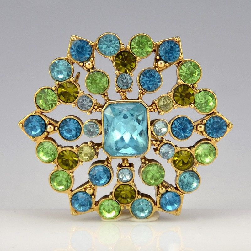 Vintage Blue and Green Rhinestone Pin - 1967