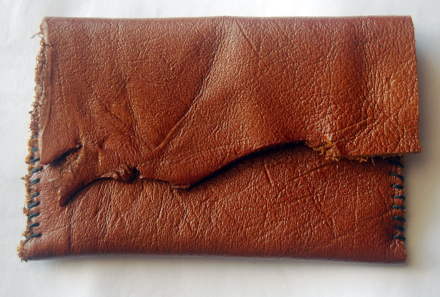 Hand-stitched Leather Credit / Business Card Pouch - Rustic Chestnut