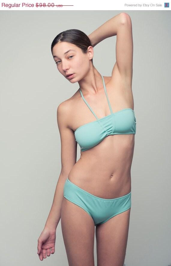 Cij, ON SALE, Bikini, Bandeau, stitches in the center, wide bottom - HelloSunshineOS