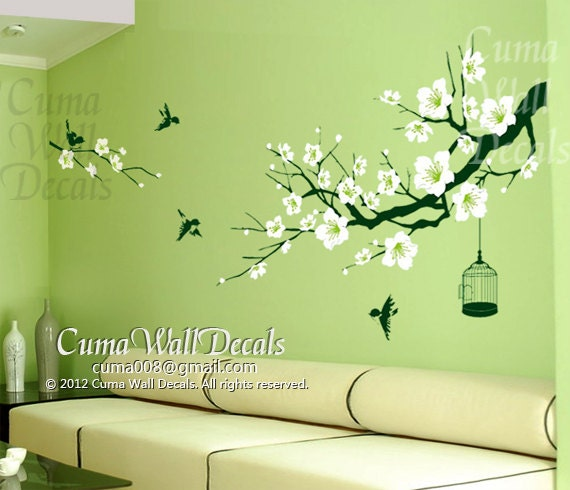 Cherry blossom wall decal birds wall decals flower vinyl for Cherry blossom tree wall mural