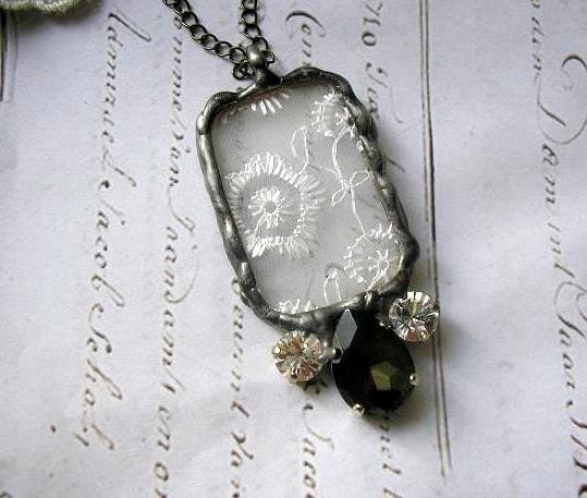 The princess ...  long Necklace Elegant Stained Glass and antique Lace Soldered Pendant