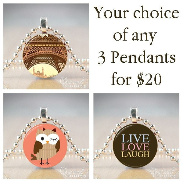 Your Choice of any 3 charmed penny pendants