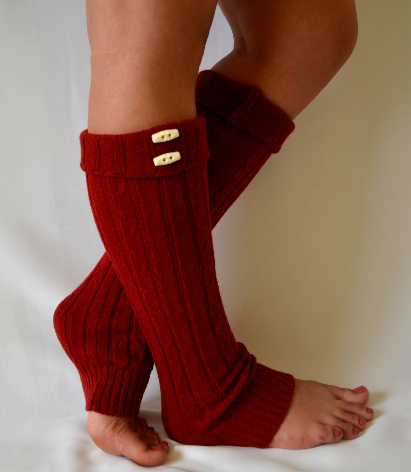 Machine Knit Red Leg Warmers With Button Chunky Leg By Bstyle