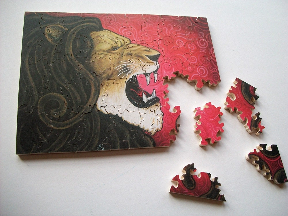Iron Lion 5x7 Custom Wood Jigsaw Puzzle